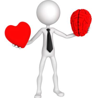 Difficult choice. Businessman balance Heart And Mind. Isolated